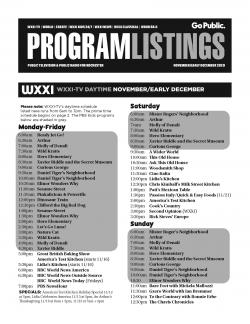 Program Listing November 2020